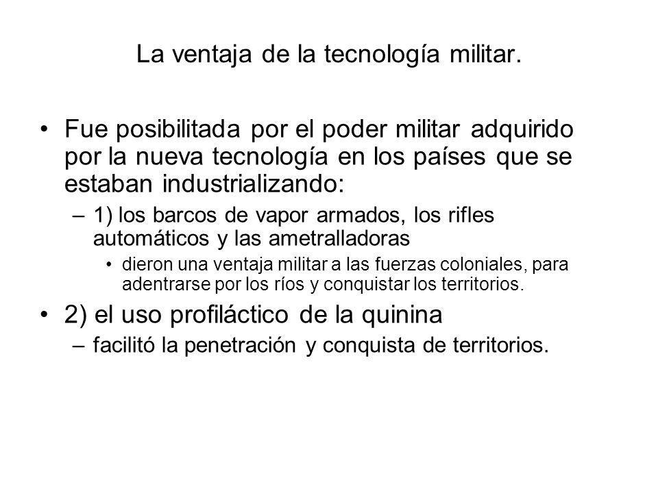 La ventaja de la tecnología militar. Fue posibilitada por el poder militar adquirido por la nueva tecnología en los países que se estaban industrializ