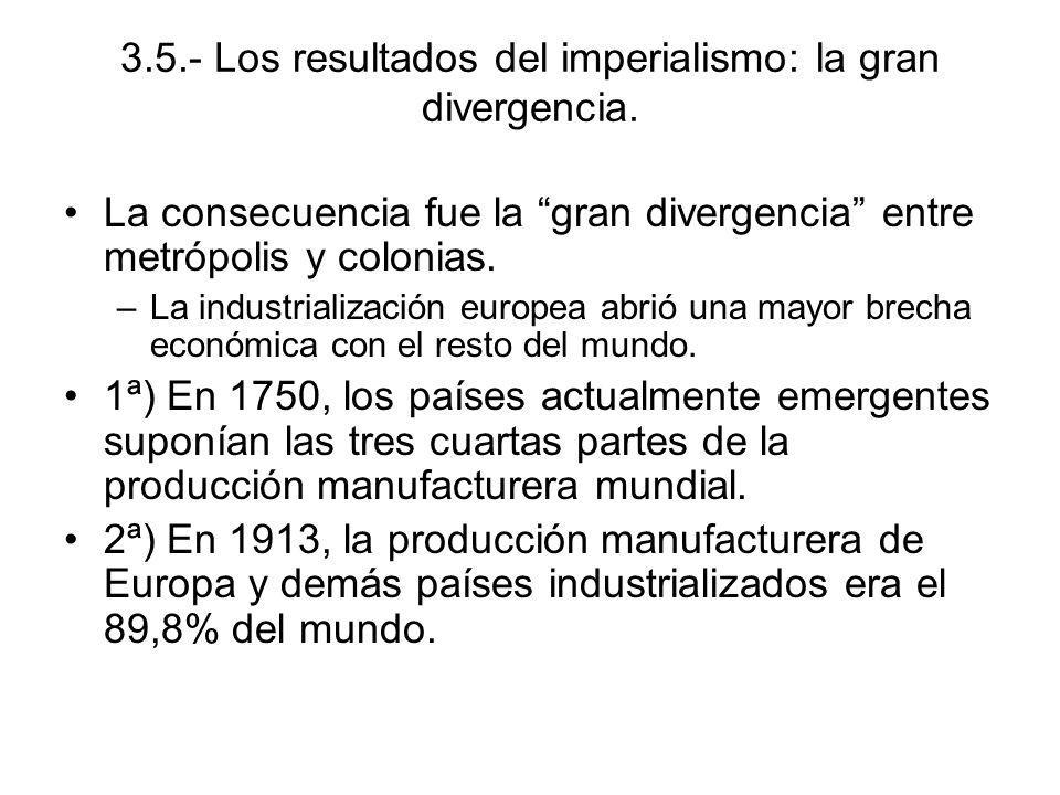 3.5.- Los resultados del imperialismo: la gran divergencia. La consecuencia fue la gran divergencia entre metrópolis y colonias. –La industrialización