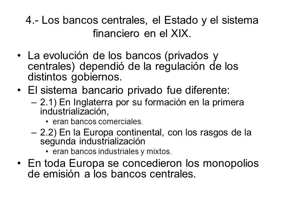 4.- Los bancos centrales, el Estado y el sistema financiero en el XIX. La evolución de los bancos (privados y centrales) dependió de la regulación de