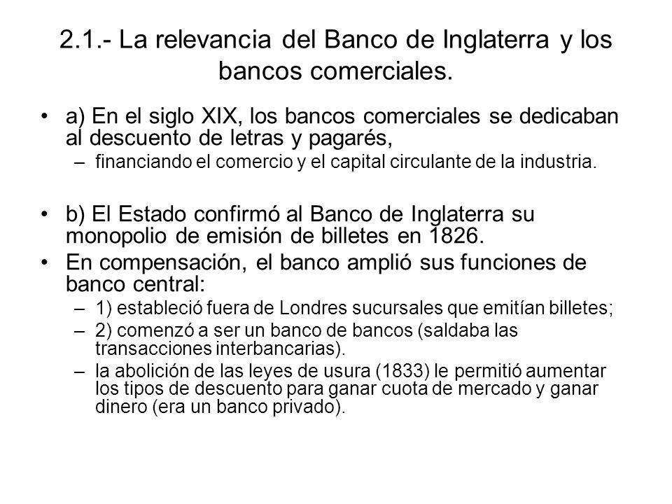 2.1.- La relevancia del Banco de Inglaterra y los bancos comerciales. a) En el siglo XIX, los bancos comerciales se dedicaban al descuento de letras y