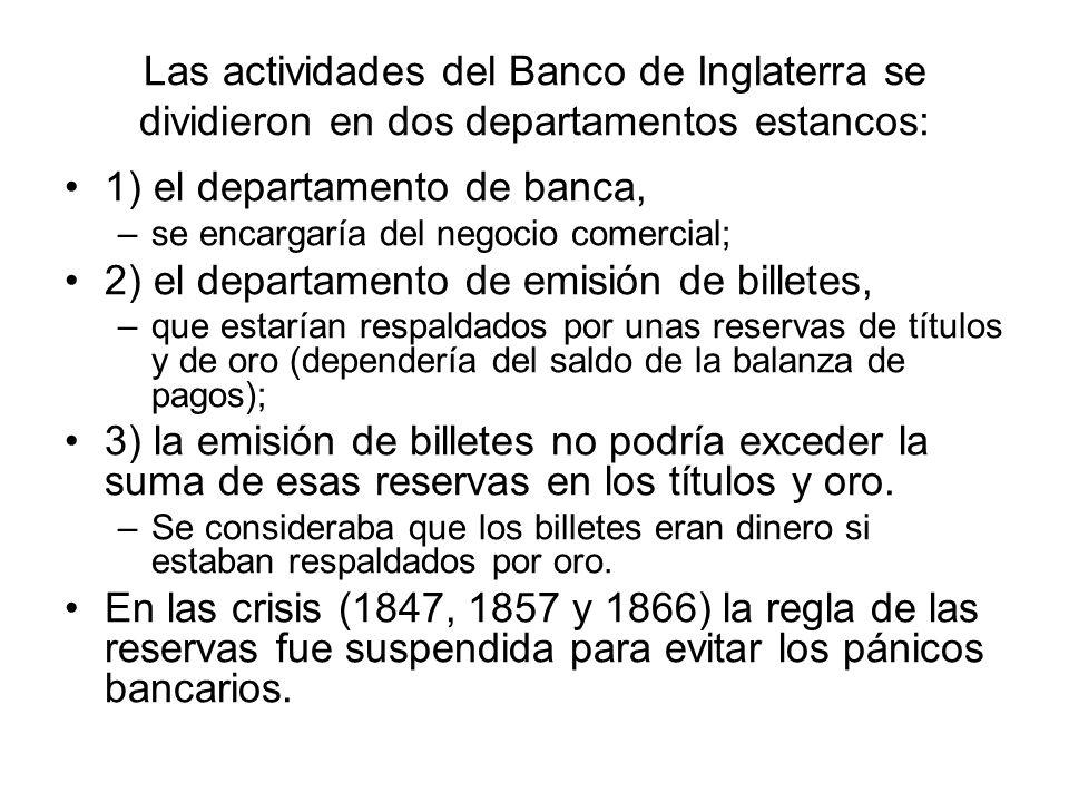 Las actividades del Banco de Inglaterra se dividieron en dos departamentos estancos: 1) el departamento de banca, –se encargaría del negocio comercial