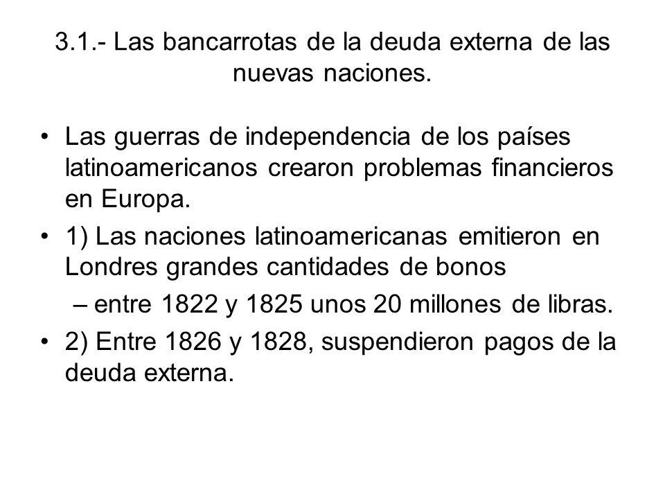 3.1.- Las bancarrotas de la deuda externa de las nuevas naciones. Las guerras de independencia de los países latinoamericanos crearon problemas financ