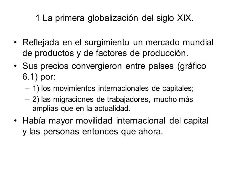 1 La primera globalización del siglo XIX. Reflejada en el surgimiento un mercado mundial de productos y de factores de producción. Sus precios converg