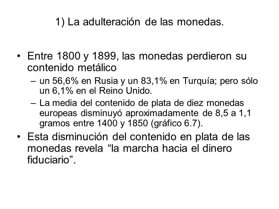 1) La adulteración de las monedas. Entre 1800 y 1899, las monedas perdieron su contenido metálico –un 56,6% en Rusia y un 83,1% en Turquía; pero sólo