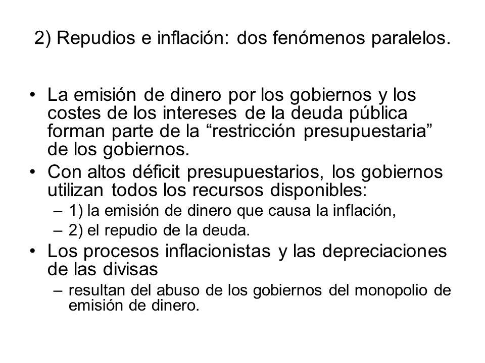 2) Repudios e inflación: dos fenómenos paralelos. La emisión de dinero por los gobiernos y los costes de los intereses de la deuda pública forman part