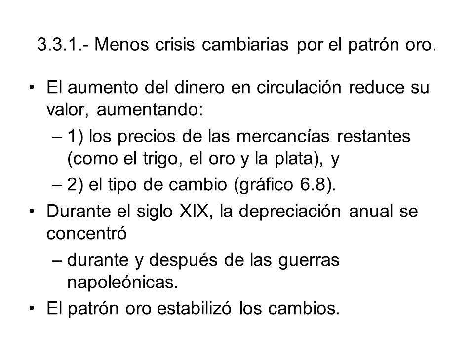 3.3.1.- Menos crisis cambiarias por el patrón oro. El aumento del dinero en circulación reduce su valor, aumentando: –1) los precios de las mercancías