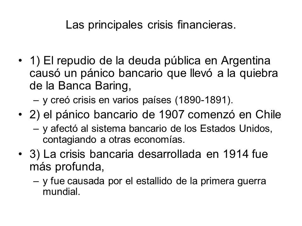 Las principales crisis financieras. 1) El repudio de la deuda pública en Argentina causó un pánico bancario que llevó a la quiebra de la Banca Baring,