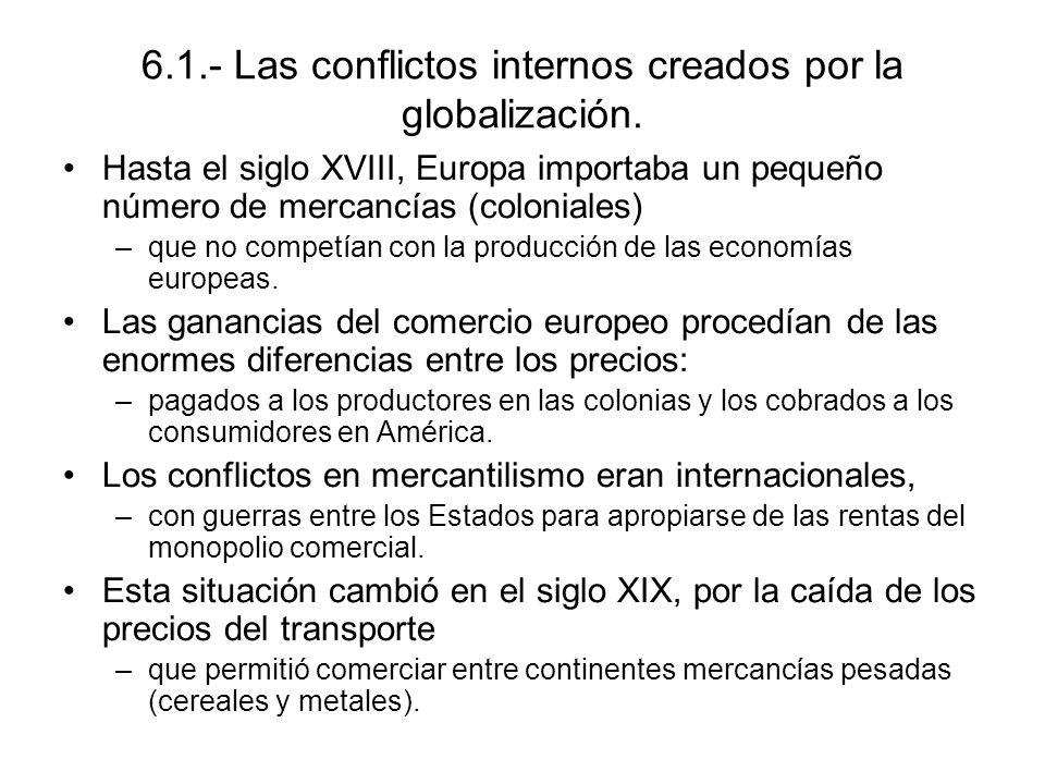 6.1.- Las conflictos internos creados por la globalización. Hasta el siglo XVIII, Europa importaba un pequeño número de mercancías (coloniales) –que n