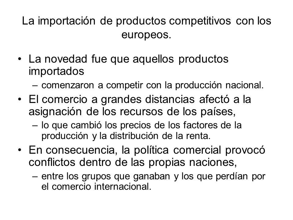 La importación de productos competitivos con los europeos. La novedad fue que aquellos productos importados –comenzaron a competir con la producción n