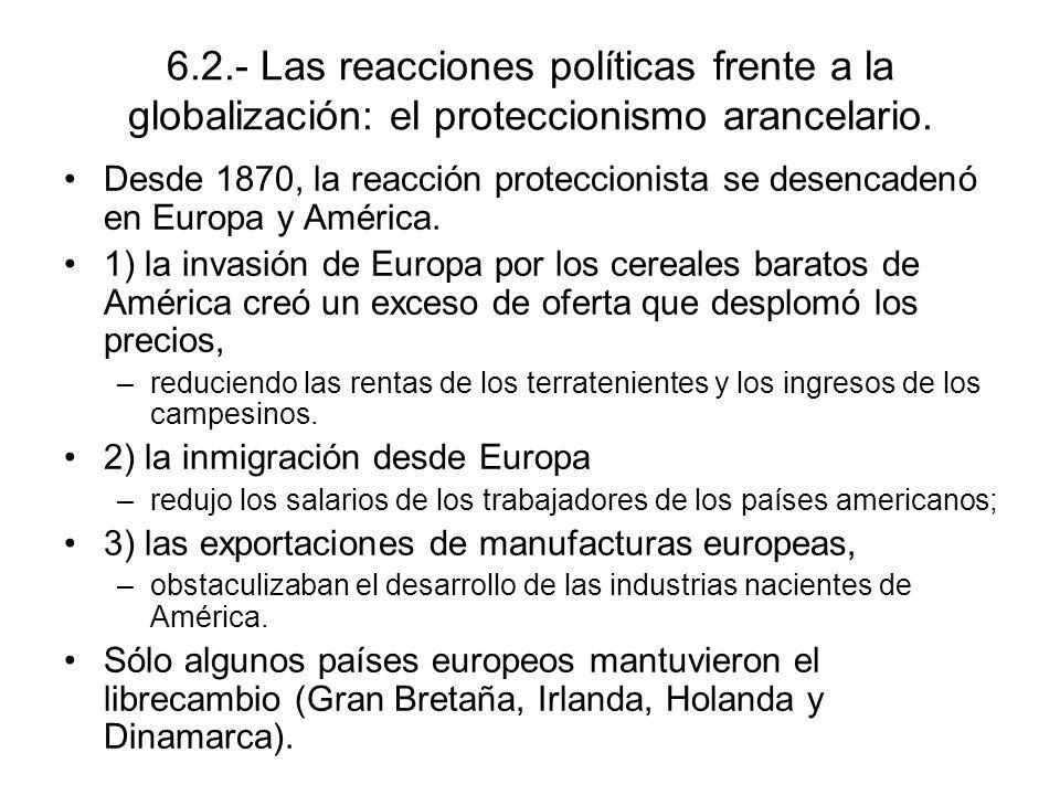 6.2.- Las reacciones políticas frente a la globalización: el proteccionismo arancelario. Desde 1870, la reacción proteccionista se desencadenó en Euro