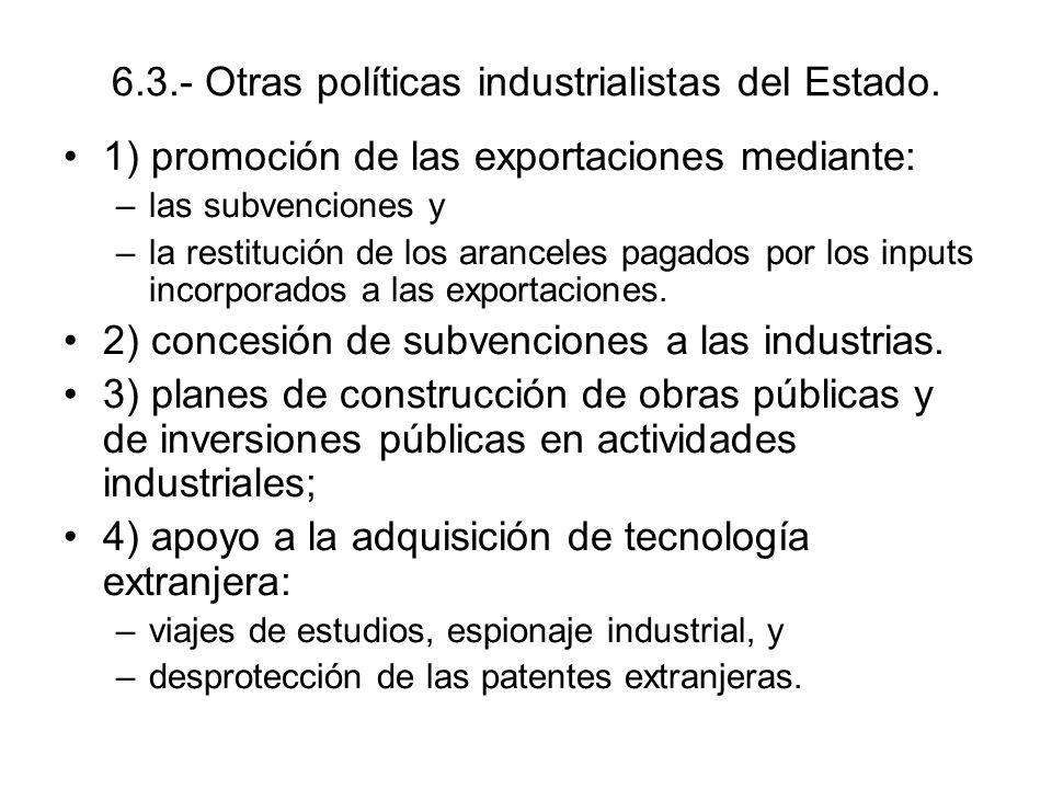 6.3.- Otras políticas industrialistas del Estado. 1) promoción de las exportaciones mediante: –las subvenciones y –la restitución de los aranceles pag