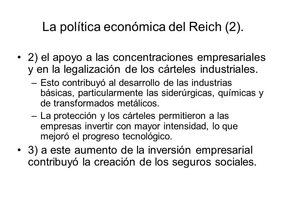 La política económica del Reich (2). 2) el apoyo a las concentraciones empresariales y en la legalización de los cárteles industriales. –Esto contribu