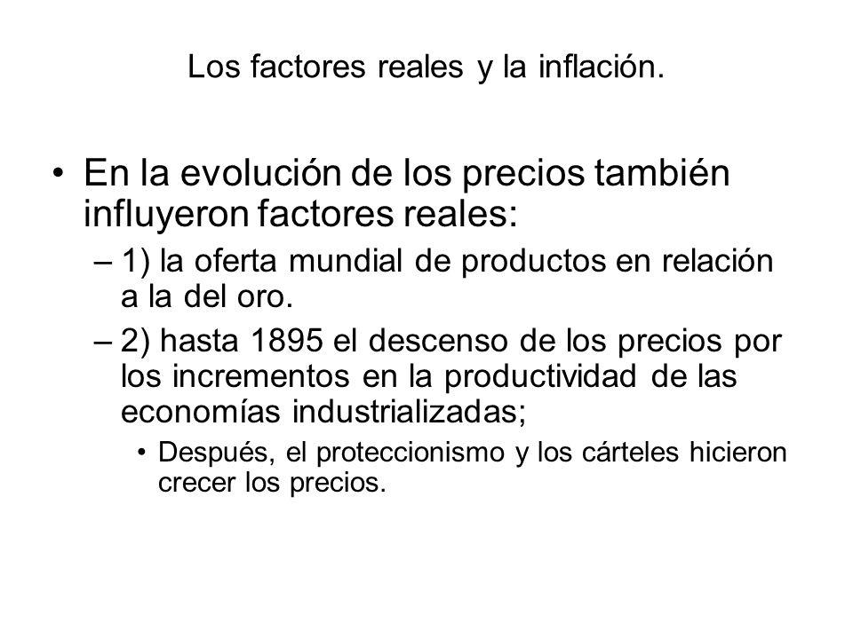 Los factores reales y la inflación. En la evolución de los precios también influyeron factores reales: –1) la oferta mundial de productos en relación