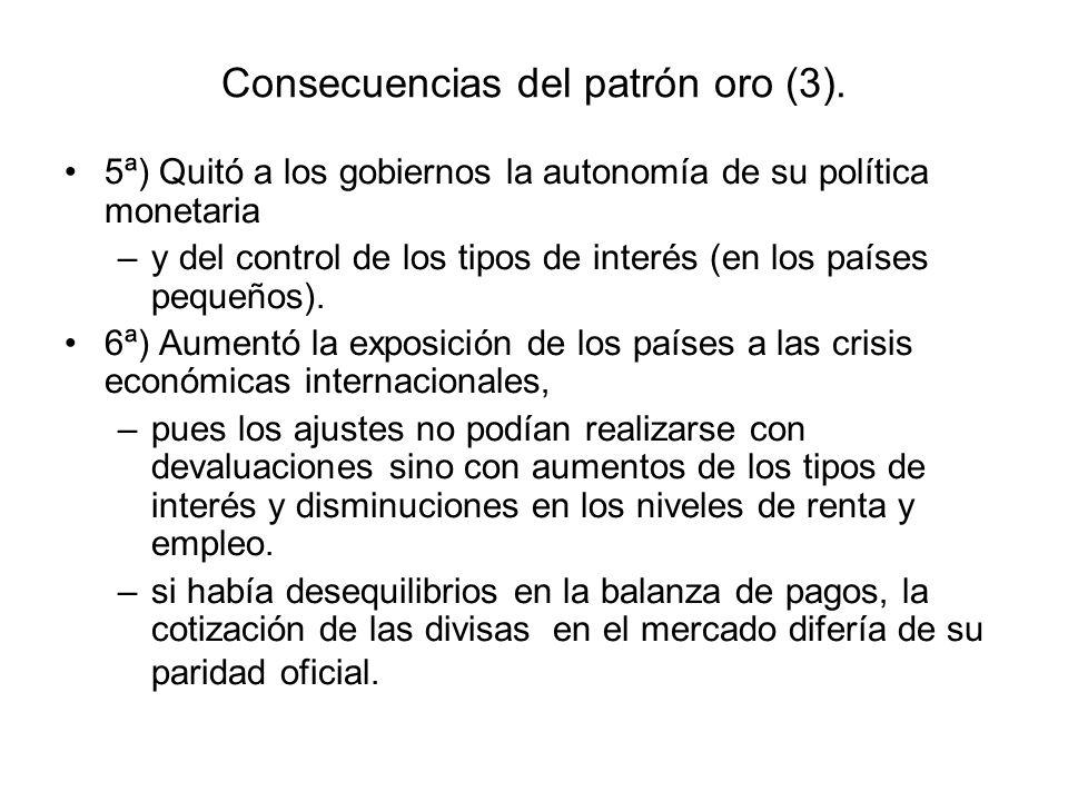 Consecuencias del patrón oro (3). 5ª) Quitó a los gobiernos la autonomía de su política monetaria –y del control de los tipos de interés (en los paíse