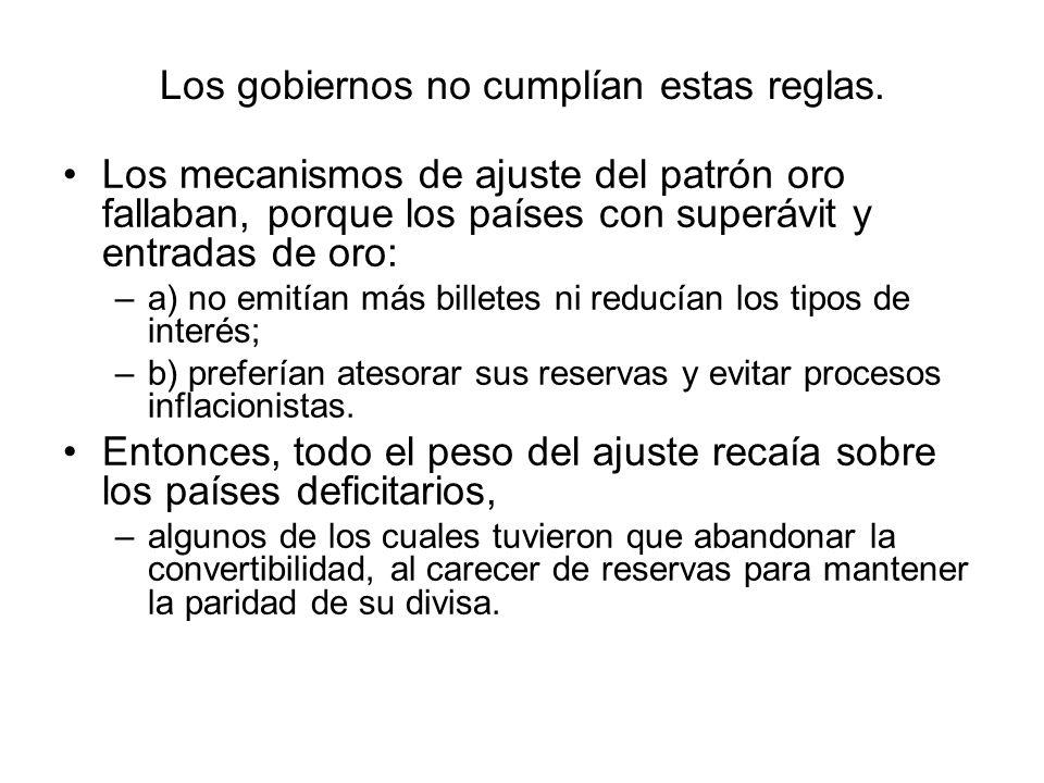 Los gobiernos no cumplían estas reglas. Los mecanismos de ajuste del patrón oro fallaban, porque los países con superávit y entradas de oro: –a) no em