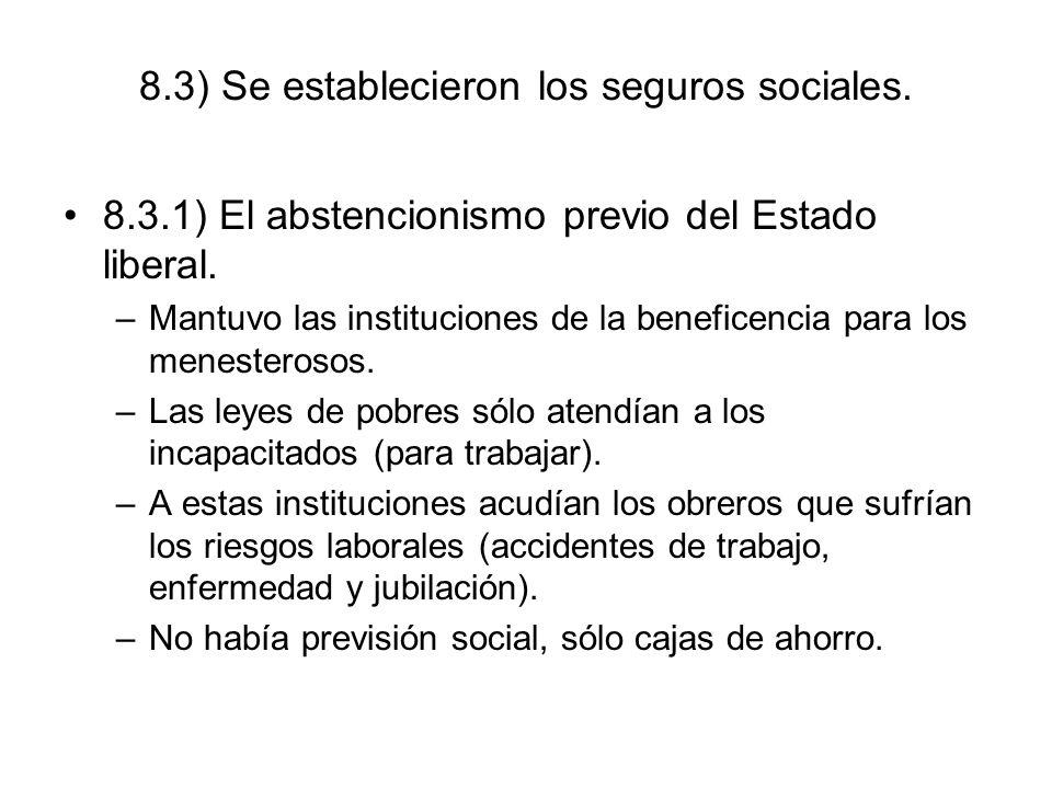 8.3) Se establecieron los seguros sociales. 8.3.1) El abstencionismo previo del Estado liberal. –Mantuvo las instituciones de la beneficencia para los