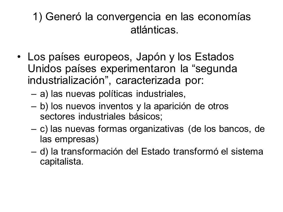 1) Generó la convergencia en las economías atlánticas. Los países europeos, Japón y los Estados Unidos países experimentaron la segunda industrializac