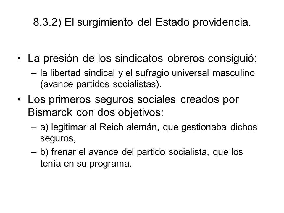 8.3.2) El surgimiento del Estado providencia. La presión de los sindicatos obreros consiguió: –la libertad sindical y el sufragio universal masculino