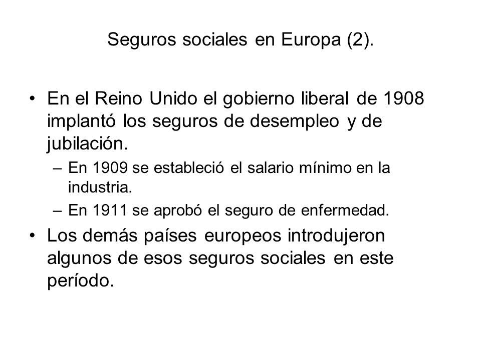 Seguros sociales en Europa (2). En el Reino Unido el gobierno liberal de 1908 implantó los seguros de desempleo y de jubilación. –En 1909 se estableci