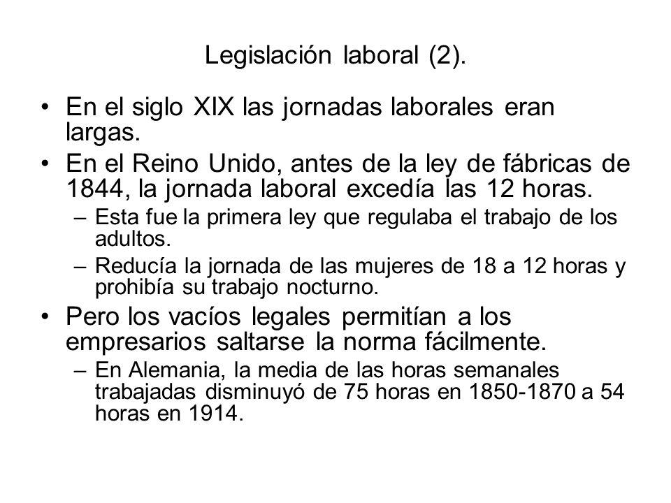 Legislación laboral (2). En el siglo XIX las jornadas laborales eran largas. En el Reino Unido, antes de la ley de fábricas de 1844, la jornada labora
