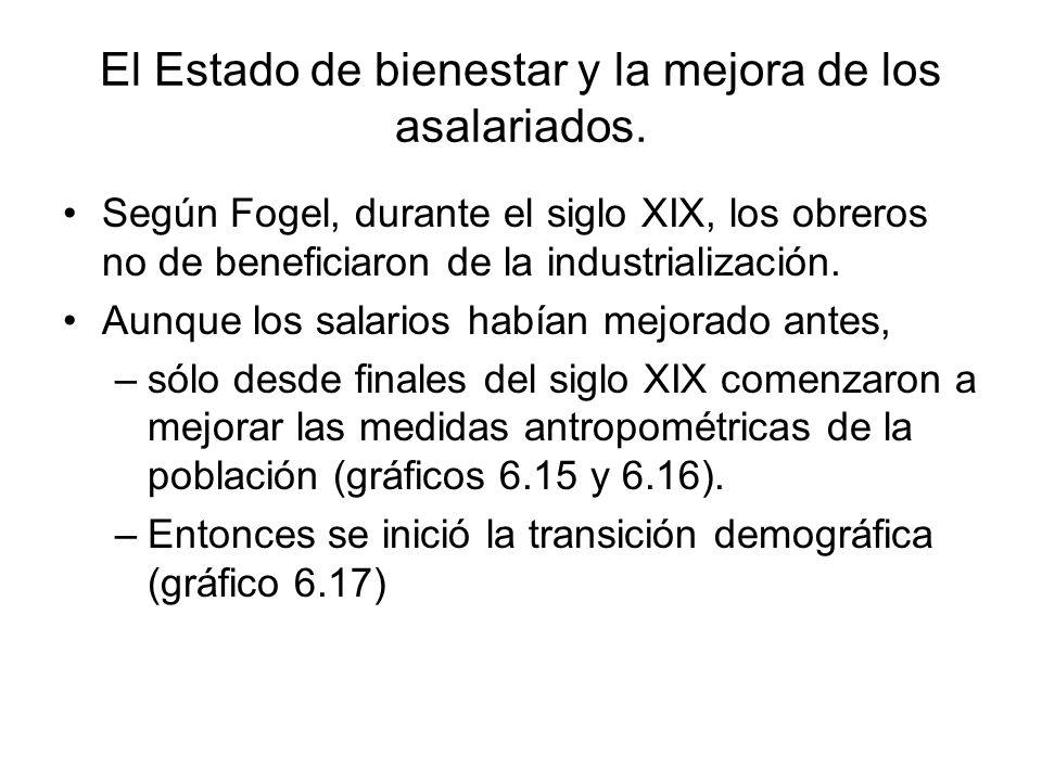 El Estado de bienestar y la mejora de los asalariados. Según Fogel, durante el siglo XIX, los obreros no de beneficiaron de la industrialización. Aunq