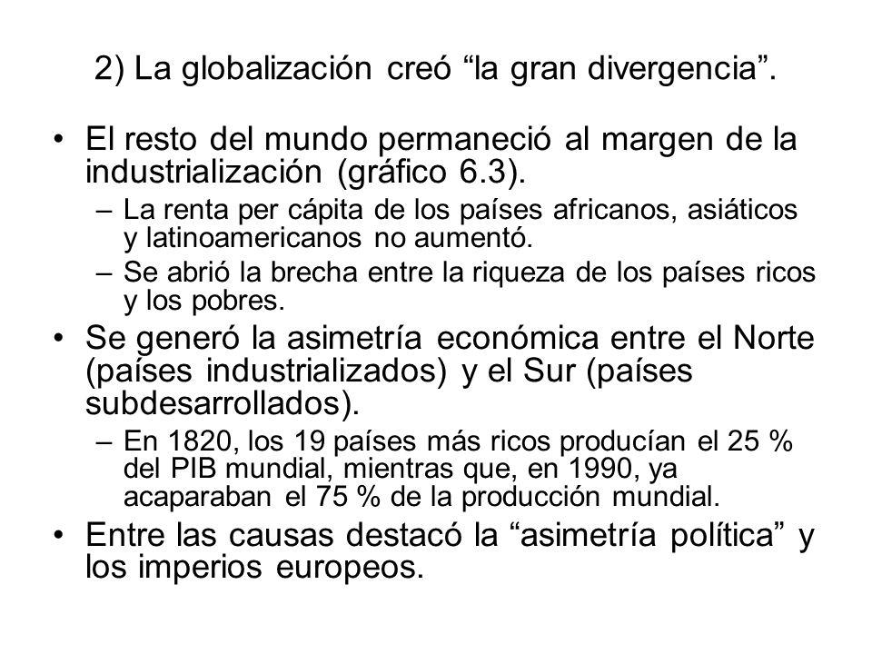 2) La globalización creó la gran divergencia. El resto del mundo permaneció al margen de la industrialización (gráfico 6.3). –La renta per cápita de l