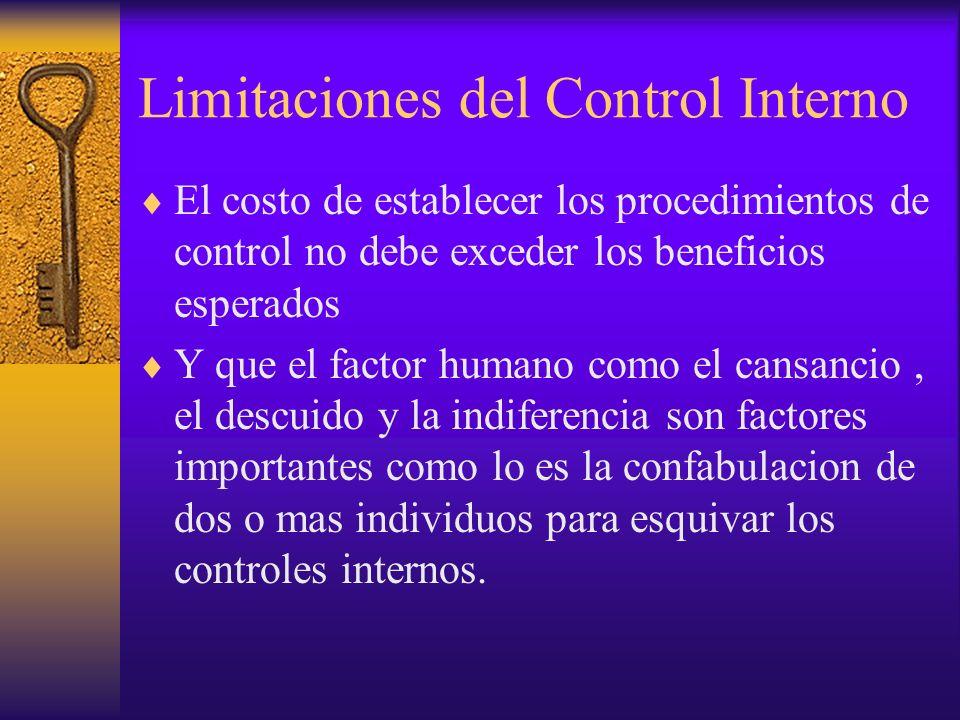 Limitaciones del Control Interno El costo de establecer los procedimientos de control no debe exceder los beneficios esperados Y que el factor humano