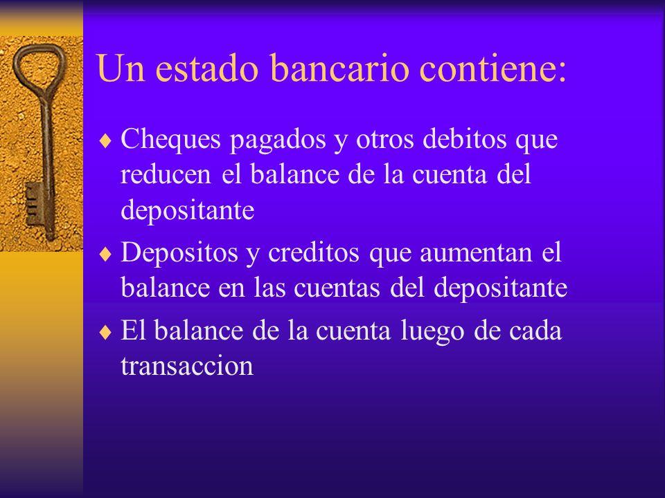 Un estado bancario contiene: Cheques pagados y otros debitos que reducen el balance de la cuenta del depositante Depositos y creditos que aumentan el