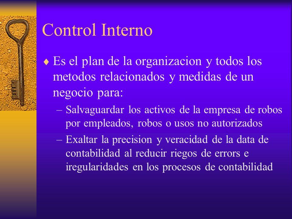 Control Interno Es el plan de la organizacion y todos los metodos relacionados y medidas de un negocio para: –Salvaguardar los activos de la empresa d