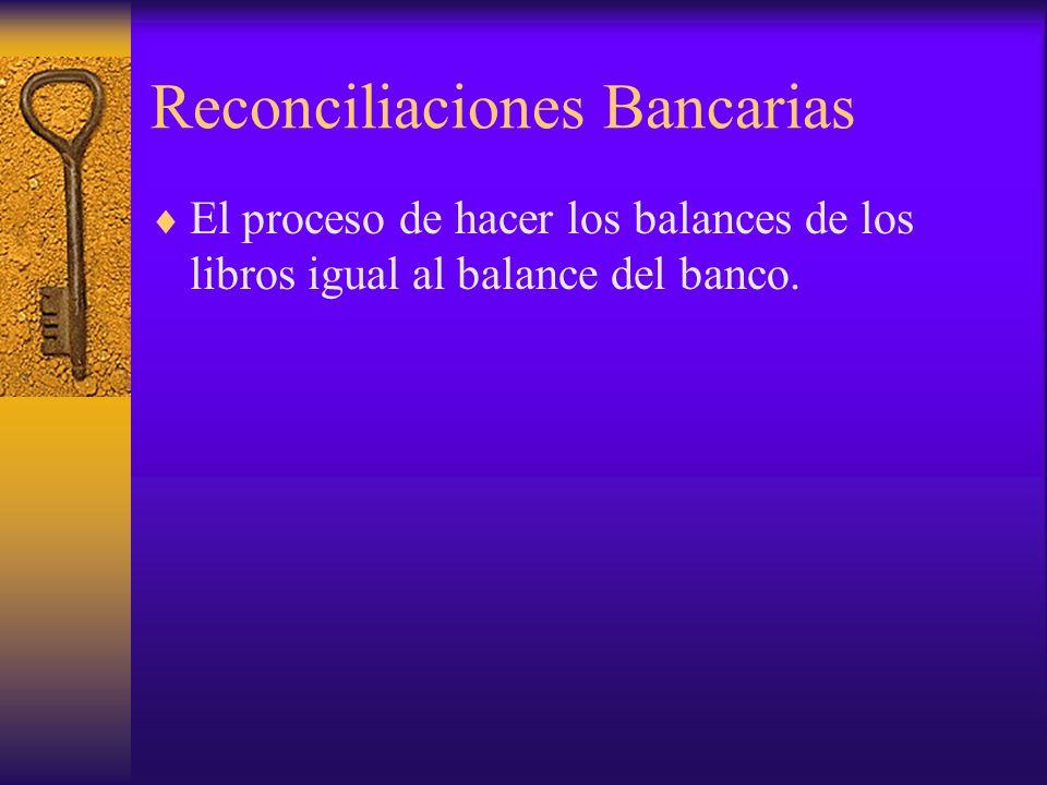 El proceso de hacer los balances de los libros igual al balance del banco.