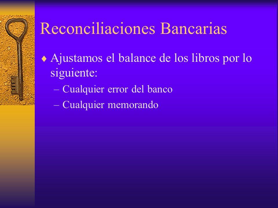 Reconciliaciones Bancarias Ajustamos el balance de los libros por lo siguiente: –Cualquier error del banco –Cualquier memorando