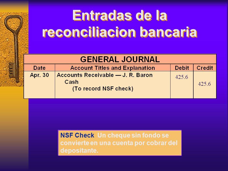 NSF Check Un cheque sin fondo se convierte en una cuenta por cobrar del depositante. 425.6 Entradas de la reconciliacion bancaria