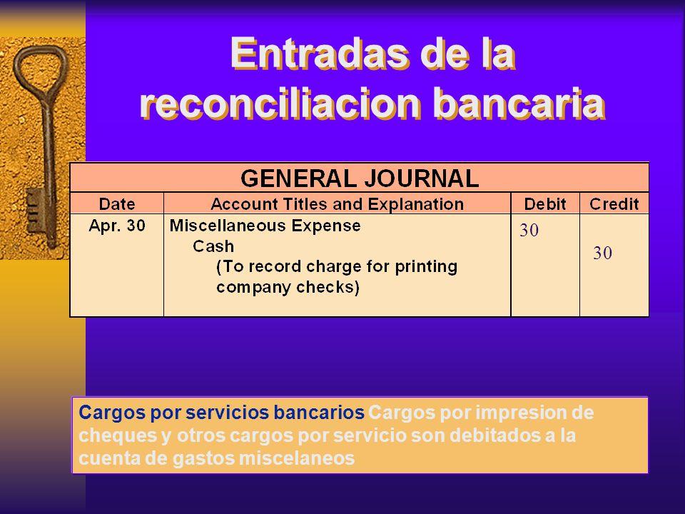 Cargos por servicios bancarios Cargos por impresion de cheques y otros cargos por servicio son debitados a la cuenta de gastos miscelaneos 30 Entradas