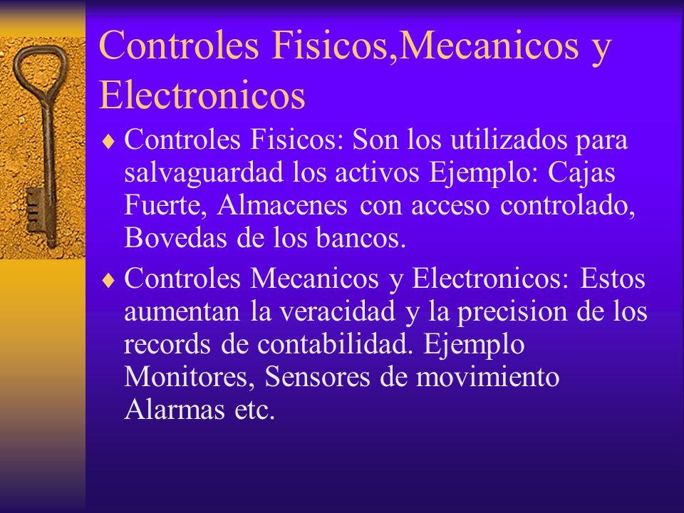 Controles Fisicos,Mecanicos y Electronicos Controles Fisicos: Son los utilizados para salvaguardad los activos Ejemplo: Cajas Fuerte, Almacenes con ac