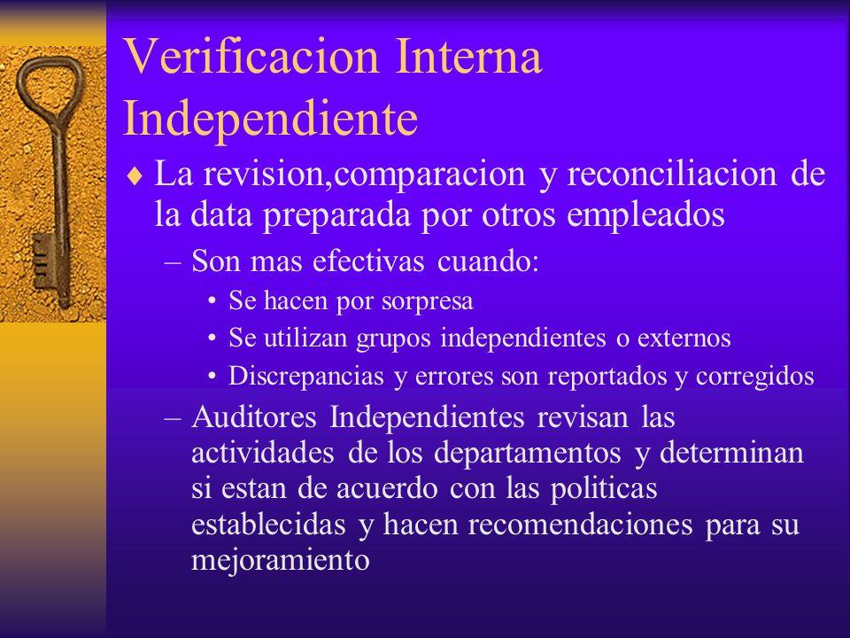 Verificacion Interna Independiente La revision,comparacion y reconciliacion de la data preparada por otros empleados –Son mas efectivas cuando: Se hac