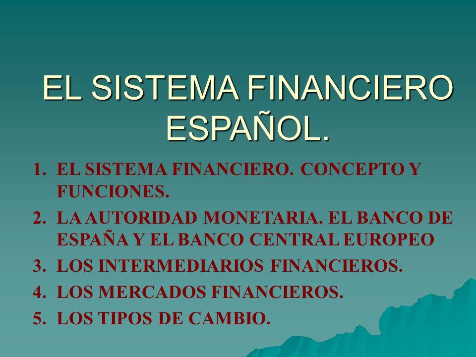EL SISTEMA FINANCIERO ESPAÑOL. 1.EL SISTEMA FINANCIERO. CONCEPTO Y FUNCIONES. 2.LA AUTORIDAD MONETARIA. EL BANCO DE ESPAÑA Y EL BANCO CENTRAL EUROPEO