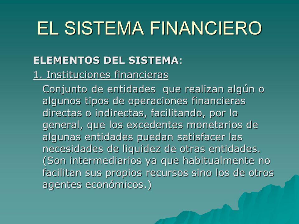 EL SISTEMA FINANCIERO ELEMENTOS DEL SISTEMA: 1. Instituciones financieras Conjunto de entidades que realizan algún o algunos tipos de operaciones fina