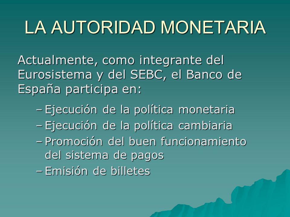 LA AUTORIDAD MONETARIA Actualmente, como integrante del Eurosistema y del SEBC, el Banco de España participa en: –Ejecución de la política monetaria –