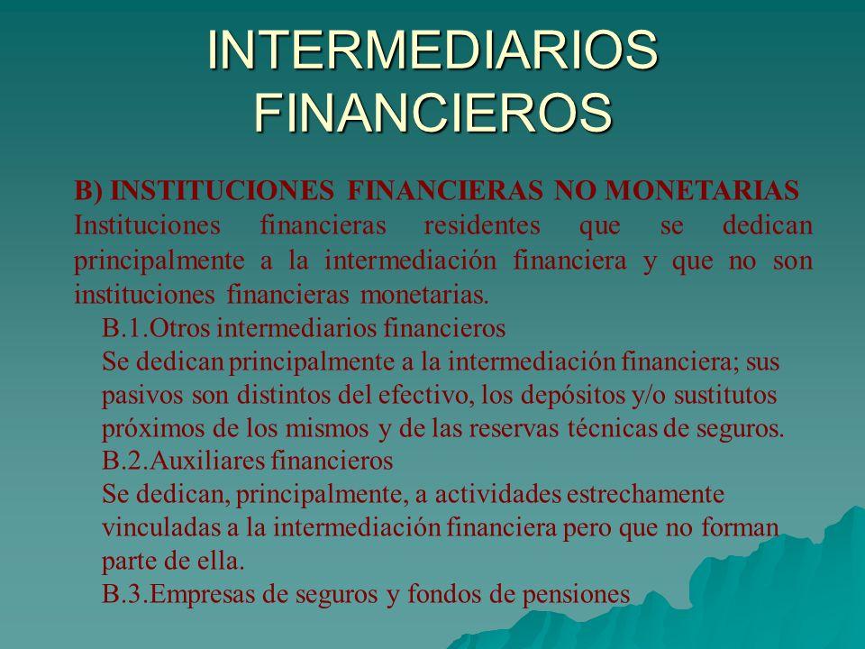 INTERMEDIARIOS FINANCIEROS B) INSTITUCIONES FINANCIERAS NO MONETARIAS Instituciones financieras residentes que se dedican principalmente a la intermed