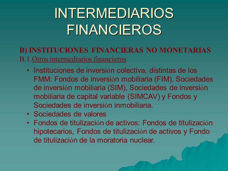INTERMEDIARIOS FINANCIEROS B) INSTITUCIONES FINANCIERAS NO MONETARIAS B.1.Otros intermediarios financieros Instituciones de inversi ó n colectiva, dis