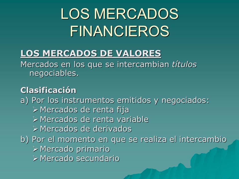 LOS MERCADOS FINANCIEROS LOS MERCADOS DE VALORES Mercados en los que se intercambian títulos negociables. Clasificación a) Por los instrumentos emitid