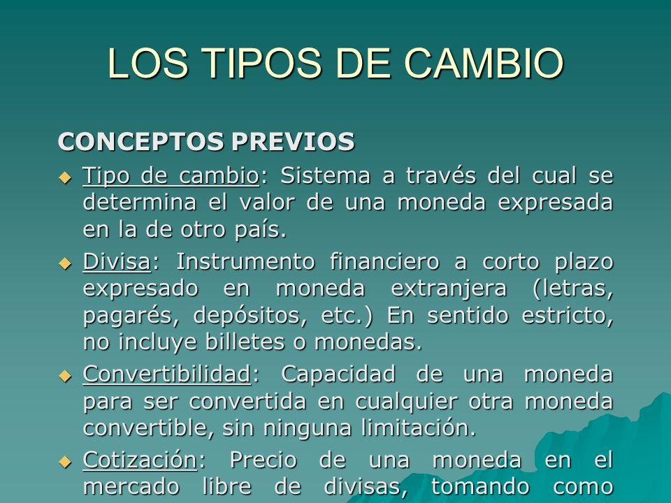 LOS TIPOS DE CAMBIO CONCEPTOS PREVIOS Tipo de cambio: Sistema a través del cual se determina el valor de una moneda expresada en la de otro país. Tipo