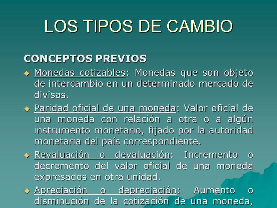 LOS TIPOS DE CAMBIO CONCEPTOS PREVIOS Monedas cotizables: Monedas que son objeto de intercambio en un determinado mercado de divisas. Monedas cotizabl