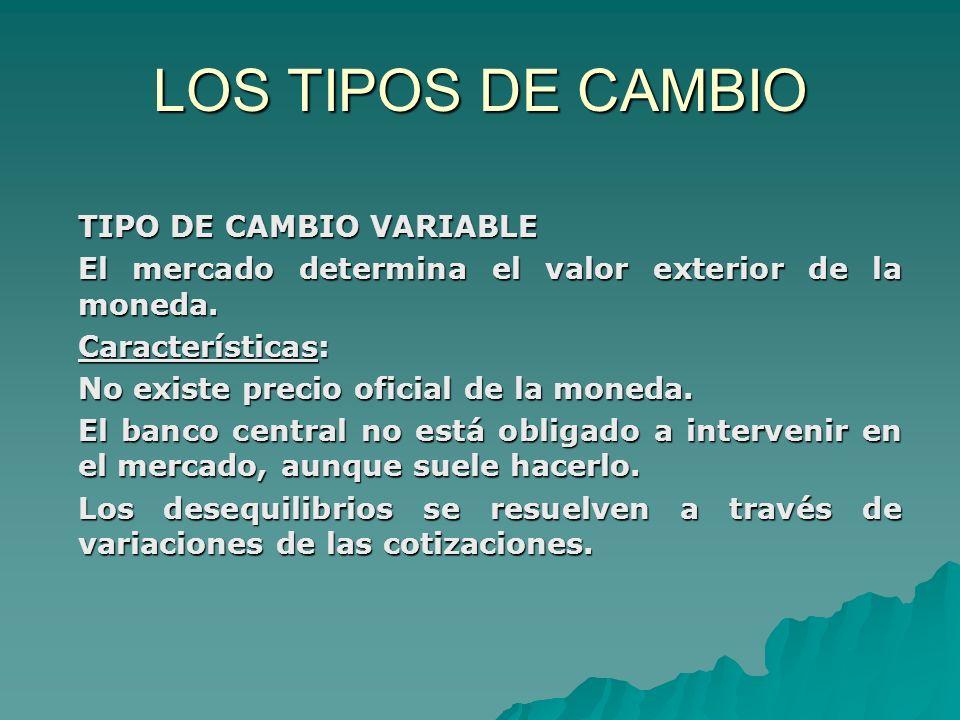 LOS TIPOS DE CAMBIO TIPO DE CAMBIO VARIABLE El mercado determina el valor exterior de la moneda. Características: No existe precio oficial de la moned