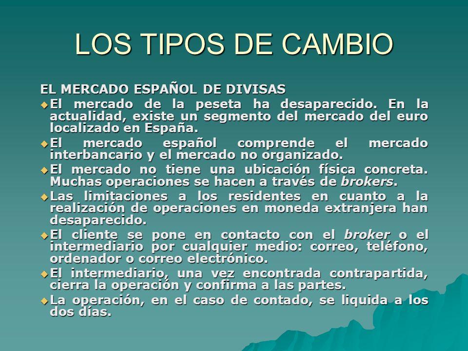 LOS TIPOS DE CAMBIO EL MERCADO ESPAÑOL DE DIVISAS El mercado de la peseta ha desaparecido. En la actualidad, existe un segmento del mercado del euro l