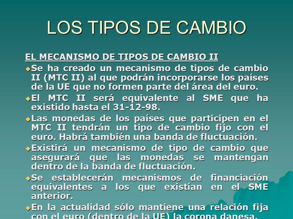 LOS TIPOS DE CAMBIO EL MECANISMO DE TIPOS DE CAMBIO II Se ha creado un mecanismo de tipos de cambio II (MTC II) al que podrán incorporarse los países