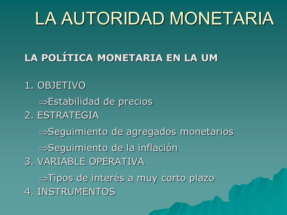LA POLÍTICA MONETARIA EN LA UM 1. OBJETIVO Estabilidad de preciosEstabilidad de precios 2. ESTRATEGIA Seguimiento de agregados monetariosSeguimiento d