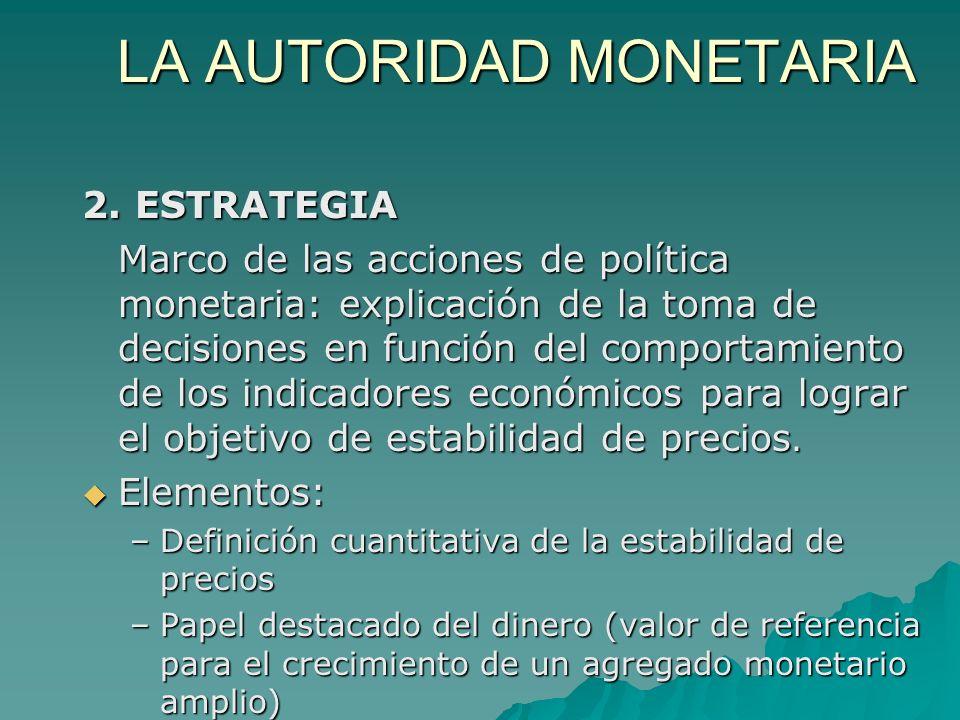LA AUTORIDAD MONETARIA 2. ESTRATEGIA Marco de las acciones de política monetaria: explicación de la toma de decisiones en función del comportamiento d