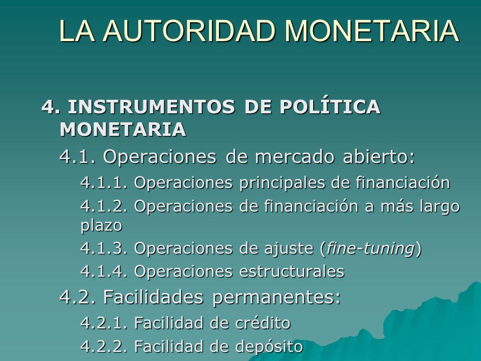 LA AUTORIDAD MONETARIA 4. INSTRUMENTOS DE POLÍTICA MONETARIA 4.1. Operaciones de mercado abierto: 4.1.1. Operaciones principales de financiación 4.1.2