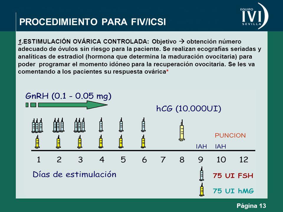 PROCEDIMIENTO PARA FIV/ICSI 1 1.ESTIMULACIÓN OVÁRICA CONTROLADA: Objetivo obtención número adecuado de óvulos sin riesgo para la paciente. Se realizan